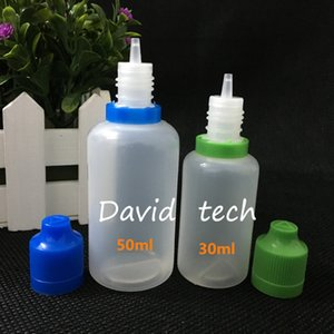 1000pcs / lot 50ml e prueba de niños líquido tamper tapa de sello de seguridad botellas eJuice 50ml niño resistente a prueba de manipulación botella vacía evidente