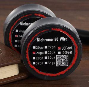 Nicromo 80 Wire riscaldamento Resistenza bobine Wick 30 Feet Spool AWG 20 22 24 26 28 Gauge per DIY ricostruibile RDA RBA atomizzatore