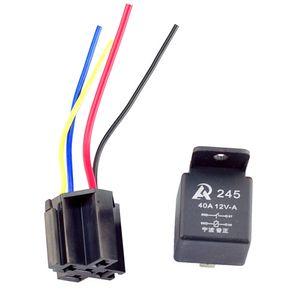 5 Unids Auto Truck Relay 12 V 40A SPST Premium Relay 4 Pin con Socket Kit de 4 Cables para Control de Alarmas Horn Headlight Universal