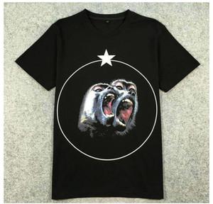 Nueva camiseta divertida mujeres hombres ropa de marca negro Monkey Brothers head star impreso camiseta masculina de alta calidad 100% algodón Tops Tees