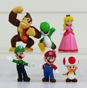 Super Mario Bros Luigi donkey kong youshi mario peach Action Figures PVC Doll 6pcs set Free shipping