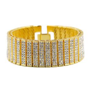 Gli uomini Hip Hop catena Bracciale ghiacciato fuori Argento Oro in lega di zinco del braccialetto di HipHop diamante simulato Bracciale tennis per il regalo del partito