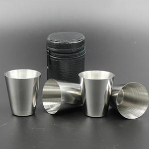 4 pçs / set Conjuntos de Caneca de Cobertura de Aço Inoxidável Acampamento Copo Caneca Beber Chá De Café Cerveja Com o Caso de Viagem de Férias Piquenique Cup 30 ML 70 ML 180 ML WX-C49