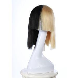 SIA Cosplay Party Perücken Hälfte blonde und schwarze 45CM gerade Kunsthaarperücken Frauen Mode Perücken