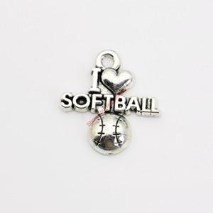 20pcs argento antico placcato I Love Softball pendenti di fascino per il braccialetto Collana creazione di gioielli fai da te artigianale fatto a mano 20x20mm
