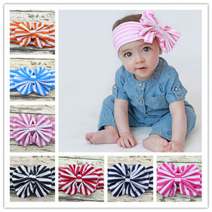 8 Colors Baby Stripe Bowknot Hairbands Headwrap Infant Head Bands Headband Kids Elastic Headwear Hair Bow Children Hair Accessory