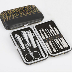 High Quality Stainless steel 12Pcs Pedicure  Manicure Set Nail care Clippers Cleaner Cuticle Grooming Kit with leather Case