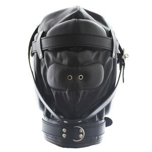 Унисекс пара флирт игрушка искусственная кожа капюшон полная Маска глаза ноздри бондаж Маска HD004