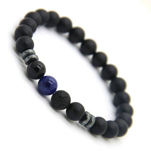 Nouveau Design Mens Bracelets 8mm Mat Agate Pierre Perles Tiger Eye Lave Stone et Blue Veins Bracelets Chanceux