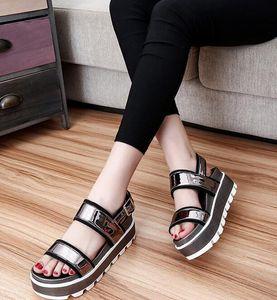 autentici 2016 estate nuove scarpe casual pigro sandali studente donne piane della piattaforma sandali torta FEDERAZIONE