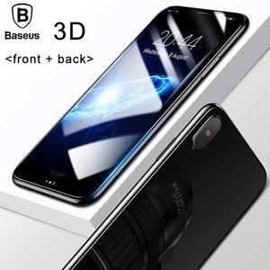 iPhone X 용 Glass Film Baseus 3D Round Curved Edge 스크린 수호자 iPhone X 용 Cover Front + Back 강화 유리 보호 필름