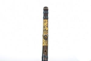 Flûte chinoise Xiao Pipe en bambou Instrument de musique professionnel à vent Bambu Une flûte de dragon sculptée ligne de nylon cravate Shichiku Convient pour mendier