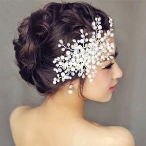 Acessórios para o cabelo nupcial da noiva casou-se com a flor de cabeça de flor coreana artesanal de cristal cocar frisado casado pérola pente