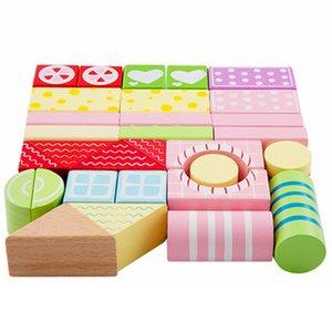 30pcs / set 나무 빌딩 블록 벽돌 다채로운 도시 교육 Montessori Toys