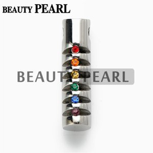 Rainbow Cubic Zirconia Cylinder Pendant Equality para Gays y Lesbianas LGBT Pride Stainless Steel with Necklace Chain