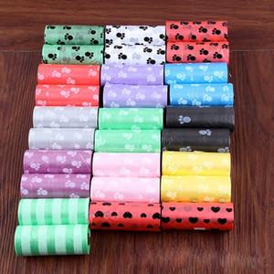 Venta caliente 10 Rollos Degradable Pet Dog Waste Poop Bag con la impresión Doggy Bag Color Promedio de Envío Gratis
