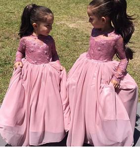 2016 Cute Pink Flower Girls Abiti per matrimoni Jewel Neck maniche lunghe in rilievo di pizzo chiffon partito di compleanno vestito bambini ragazza pageant