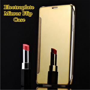 Electroplate cubierta del caso para iPhone7 7plus 6 Galaxy borde S6 S7 Clear View basculante de un espejo cajas elegantes del cuero con paquete al por menor
