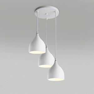 Lampes de restaurant Aluminium tulipe pendentif d'éclairage moderne loft allume un sac nordique combinaison classique lustres E27 Trois simples
