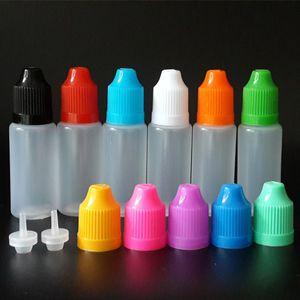 10 ml Göz damlası şişesi LDPE Yumuşak Stil Plastik Damlalık Şişeler ile Çocukların Açamayacağı Kapaklar ve E sıvı E suyu için uzun ince ucu
