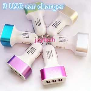 calidad Cargador universal Triple 3 Puertos USB Cargadores para el automóvil traver Adaptador del enchufe del coche para Samsung Nota 5 HTC teléfono inteligente