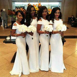 Beyaz Afrika Mermaid Gelinlik Modelleri 2017 Moda Kısa Kollu Düğün Konuk Elbiseleri Custom Made Seksi Kollu Uzun Hizmetçi Onur