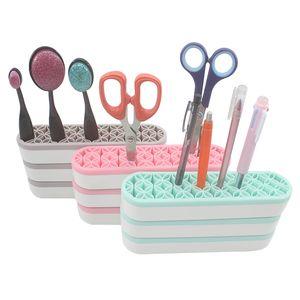 Soft Flower Slots Stand Rack Lippenstift Zahnbürste Bleistift Aufbewahrungstool Silikon Make-up Pinsel Halter Cosmetic Organizer