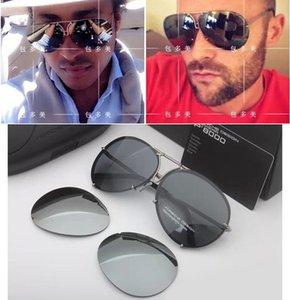 Designer de marca homens mulheres moda P8478 cool verão estilo óculos polarizados óculos de sol óculos de sol 2 conjuntos de lente 8478 com casos