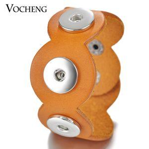 VOCHENG NOOSA 가죽 팔찌 3-Snap Charms Bracelet 2 색 18mm 교환 가능 보석류 NN-491