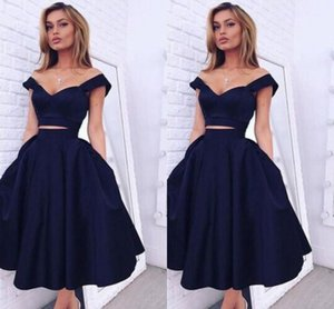 2016 New Sexy Short Two Pieces Prom Dresses Sweetheart Cap Sleeves Navy Blue Satin Tea Length Formal Party Dress Graduation Evening Gowns