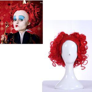 Alice au Pays des Merveilles Rouge Reine Perruque Courte Bouclés Rouge Couleur Film Cosplay Perruque Costume Partie Perruque Femmes Fille