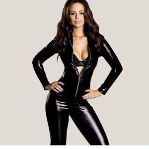 Toptan-Dower Me Dower Me Siyah Seksi Kostüm Seksi Kadınlar Islak Bak Clubwear 2016 Vinil Catsuit Kostüm Yüksek Kalite Tulumlar W7795