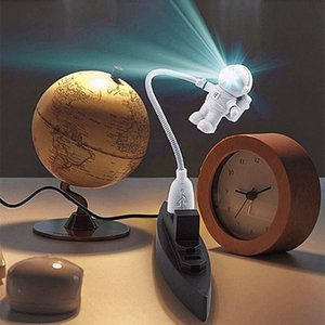 Flexible Spaceman Astronaut USB Tube ABS+PC Mini LED Night Light White Lamp For Computer Laptop PC Notebook Reading Portable
