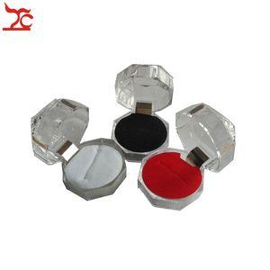 5 Unids Anillo de Acrílico Transparente Caja de Almacenamiento Anillo de Cristal Diamante Pendiente Organizador Paquete de Presentación Caja de Regalo 4 * 4 * 4 cm 3 colores Disponible