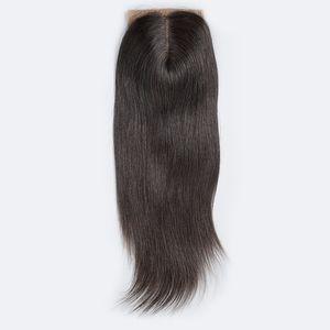 Brasileño Recto Base de seda Cierre de pieza libre Remy Cierre de cabello humano Nudos blanqueados con cabello de bebé Cierre superior