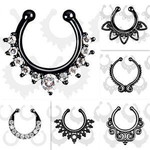 Atacado-Top quality Falso septo piercing no nariz anel nariz de aro preto para as mulheres faux clipe anéis clicker non Body Jewelry