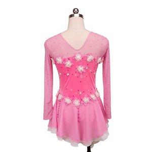 Princess Pink Long Sleeve Handmade Flower Ice Competition Dress Girls Fashion Latest Style Children Dress Short Length
