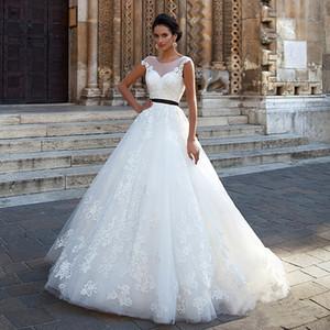Élégante boule Robes Applique Robe de mariée Tulle avec Black Sash dos ouvert Robe de mariée Robe de Noiva sereia