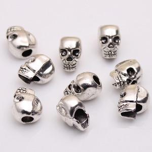 Vente en gros crâne tête perles squelette mal zinc métal en alliage Big Hole Charm Bead Fit chaîne européenne Bracelets Bijoux 100pcs