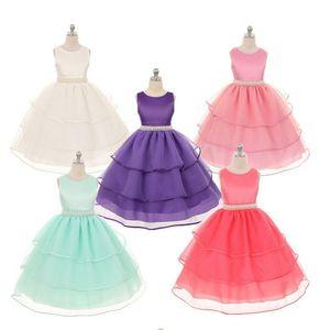 Samgami Baby Kids Girls Layed Pizzo Party Dress Dress Bambini 6 colori Principessa Bowknot Abiti con cinturino perla Tutu Sundress SA0040 #