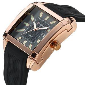 CURREN 8145 Calendrier Homme Femme Montres Affaires Affaires Mode Quartz Montres En Caoutchouc avec montre bracelet forme carrée Hommes