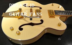 Guitarra ideal G6136-1958 Steven Stills Branco Falcon Envelhecido Branco guitarra elétrica do corpo oco duplo F Buraco Bigs Tremolo Gold Bridge Hardware