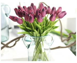 Tulipani in lattice Artificiale PU Bouquet di fiori Real touch fiori Per la decorazione domestica Decorazioni per matrimoni 11 Colori Avalid