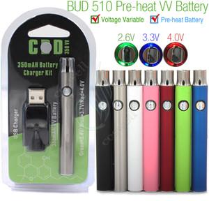 Preriscaldamento Batteria Kit Preriscaldamento 350 mAh VV Variabile Voltage preriscaldatore mini caricatore USB CO2 Cartucce olio denso Vaporizzatore 510 O Pen BUD Touch