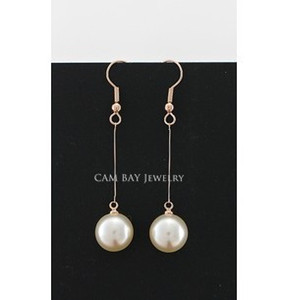 Italina Sweet Simulated Pearl Drops Orecchini Gold Tone Hook Line Perle Drangle Women Delicate Ear Accessories
