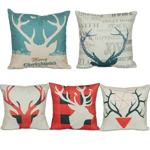5 colors Vintage Christmas Santa Claus Linen Cotton Blend Pillowcase Reindeer Sofa Pillow Covers Home Car Bed Office Chair Xmas Pillowcase
