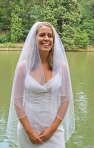 Yeni Üst Moda Gerçek Görüntü Hattı Kenar Tarak Ile 1 T Fildişi Beyaz Düğün Peçe Parmak Gelin Ve