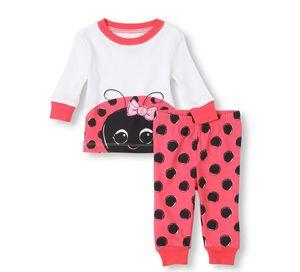 Kızlar Eşleşen Bebek Çocuk Uğur Böceği 2 Parça Pijama Bebek giysileri Çocuk Çocuk Pijama Setleri Büyük kız Giyim KM 001