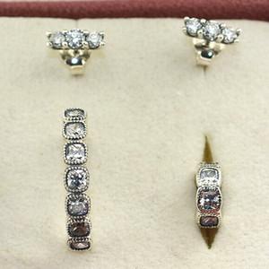 Autentico argento sterling 925 Sparkling Elegance Charm Bead Ring Orecchini gioielli Set adatto europeo Pandora bracciali collane