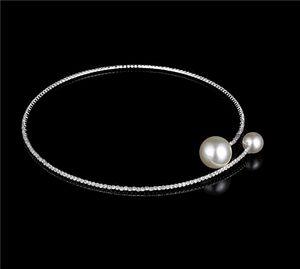 Collare Girocollo Collana fragile elegante di cristallo strass grande fascino della perla singolo filo Faux Pearl Necklace diamante per le donne